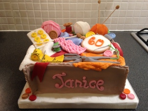 Sewing/knitting basket cake