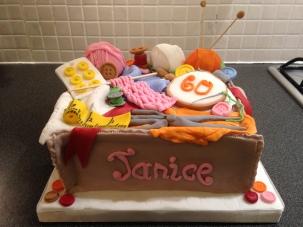 Sewing/knitting basket cake