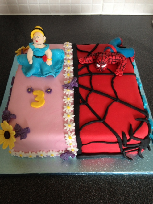 Princess/Spiderman Cake
