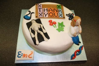 Science Themed Thankyou Cake with Scientist