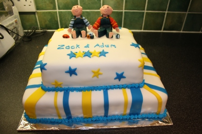 Tiered Christening Cake for Twins