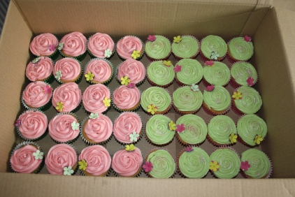 Vanilla Favour Pink And Green Flower Cupcakes
