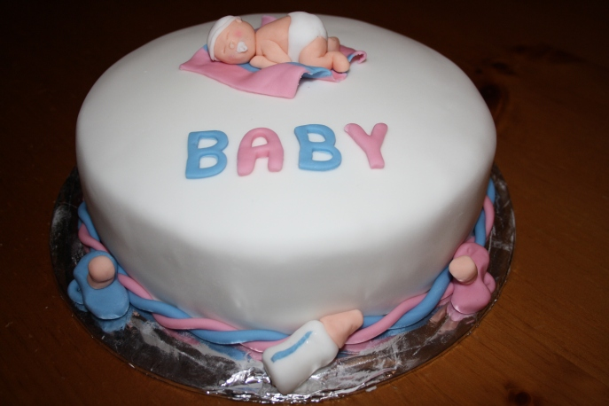 Baby Shower Cake With Blue and Pink Layered Sponge