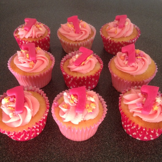 Girly Pink Number 7 Cupcakes