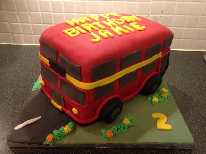 A Big Red Bus Cake