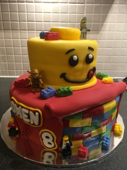 Tiered Lego cake